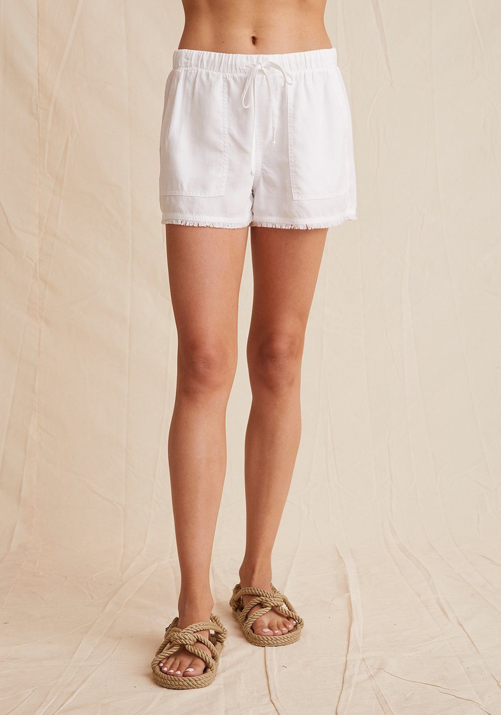 Bella Dahl - Frayed Pocket Short White-Shorts-Uniquities