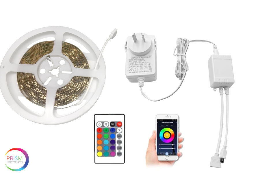 Prism Smart RGBCW LED Strip Light Kit - 2M Strip, Smart Controller, Remote and Power Adapter