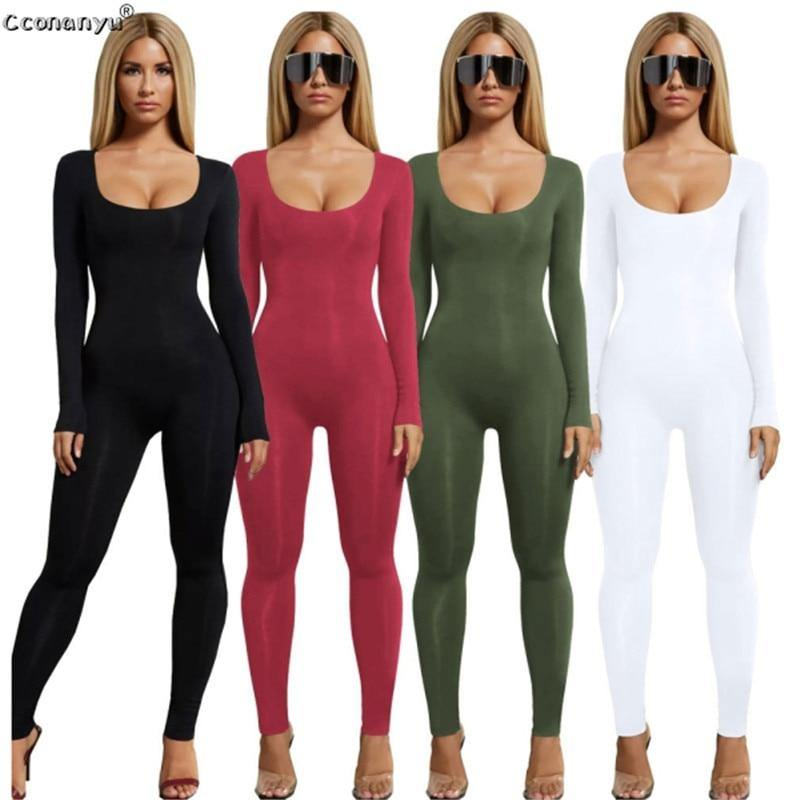 Jumpsuits for Women 2019 Sexy Black Long Sleeve Women Jumpsuit White Green Rompers Womens Jumpsuit Long Pants Solid Colors - Fitness Reinforce