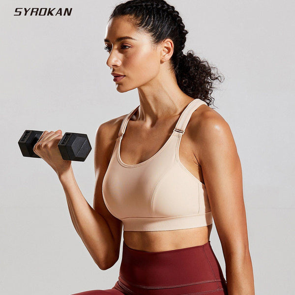 SYROKAN Women's Front Adjustable Wirefree High Impact Full Support Plus Size Sports Bra - Fitness Reinforce