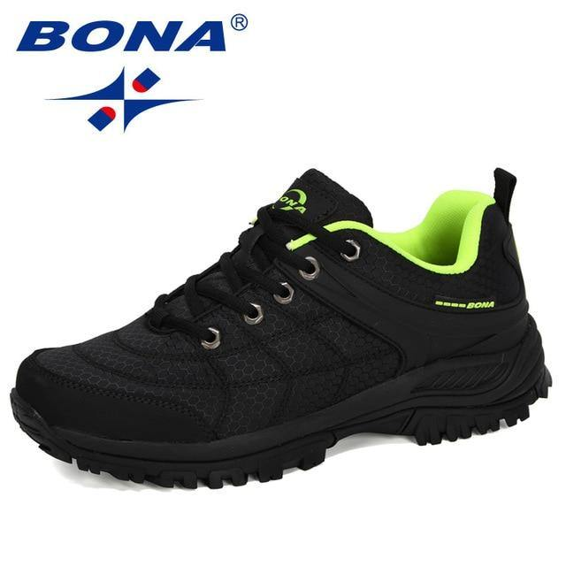 BONA 2020 New Designers Popular Hiking Shoes Man Nubuck Leather Mesh Outdoor Men Sneakers Climbing Shoes Men Sport Shoes Trendy - Fitness Reinforce