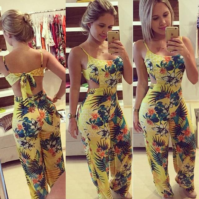 Women Clubwear Summer Bodycon Party Jumpsuit Romper Trouser Ladies Fit and Flare Floral Bandage Jumpsuits Female Clothing - Fitness Reinforce