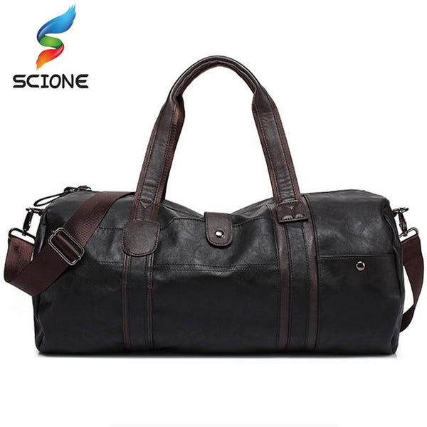 Hot Men's Large Capacity PU Leather Sports Bag Gym Bag Fitness Sport Bags Travel Shoulder Handbag Male Bag Black Brown - Fitness Reinforce