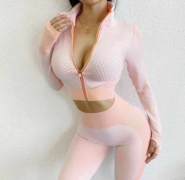 Seamless Long Sleeve Yoga Top Ladies Sports Top Fitness Gym Zip Workout Shirt Top with Thumb Hole Running Sportswear