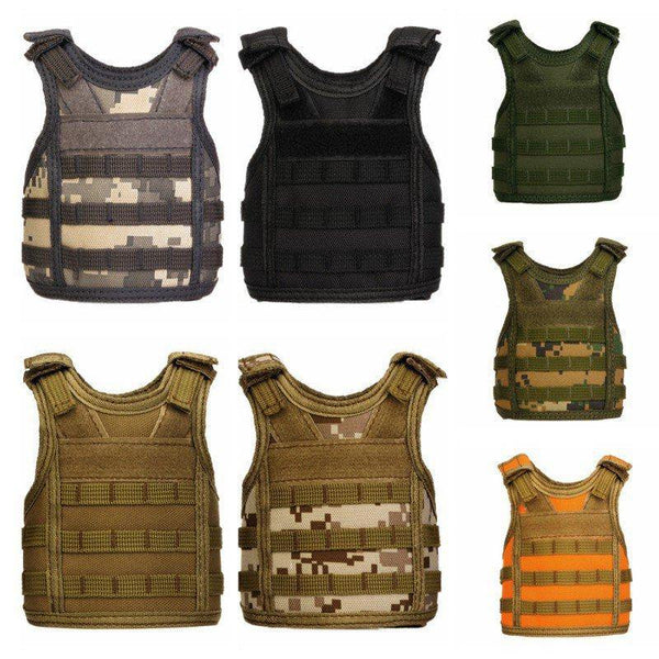 Tactical Beer Bottle beer vest Cover Military Mini Miniature Molle Vest Personal Bottle Drink Set Adjustable Shoulder Straps - Fitness Reinforce