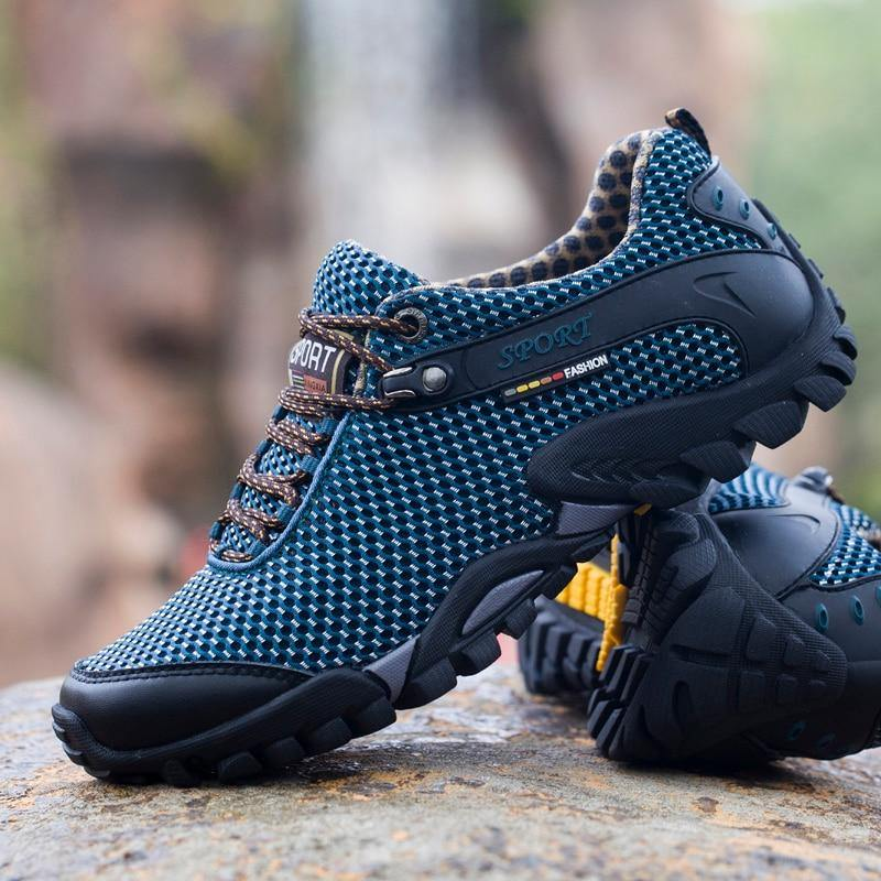 High Quality Cow Leather Climbing Shoes Men Trekking Fishing Shoes Women Breathable Lycra Sneakers Camping Sports Shoes Outdoor - Fitness Reinforce