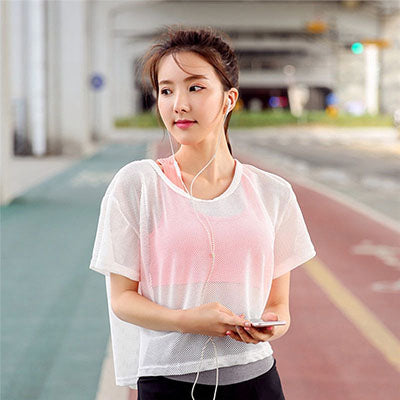 Women's Mesh Yoga Shirt Sexy Short Sleeve T-Shirt Sport Top Blouse Cover Up Quick Dry Gym Clothes Running Fitness Tank Sportwear