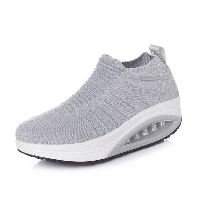 Minika Women Slimming Shoes Fly Wire Air Slip-on Sneakers 2019 New Wedge Height Increasing Female Toning Swing Shoes