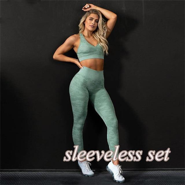 Camo Yoga Set Women Seamless Fitness Yoga Bra Sport Bra Camouflage High Waist GYM Leggings Pants Fitness Suit Workout leggins - Fitness Reinforce