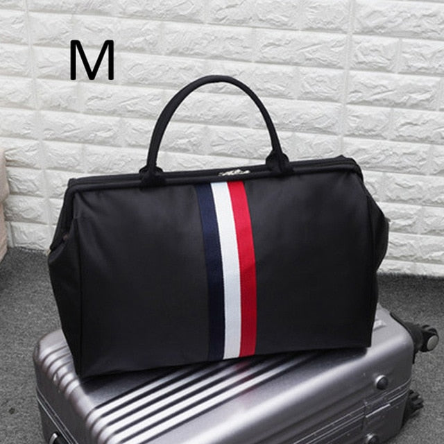 Women Sport Bag Stripe Gym Bag Fitness Sports Bag Large Travel Handbag Duffle Bags Overnight Weekend Traveling Bags Men XA637WB