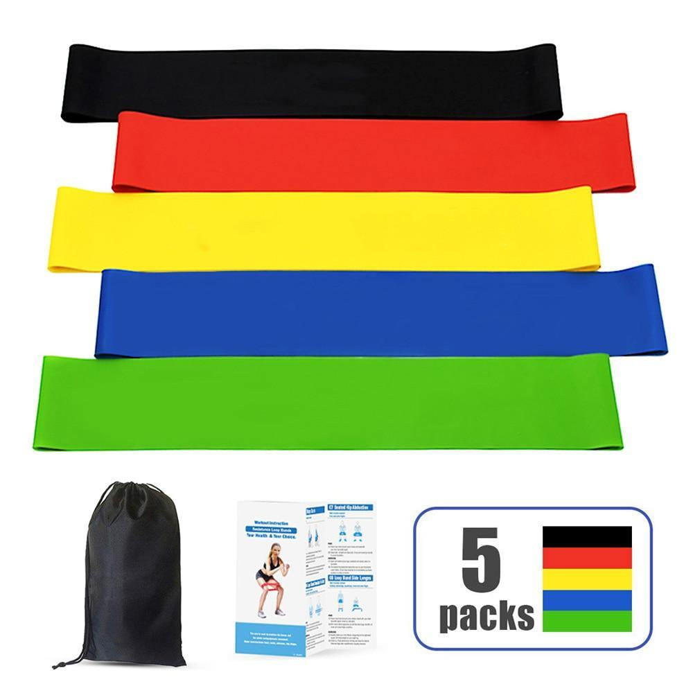 5 Workout Bands Fitness Equipment Exercise Resistance Loop Bands Set Of With Carry Bag For Legs Butt Arms Yoga Fitness Pilates - Fitness Reinforce