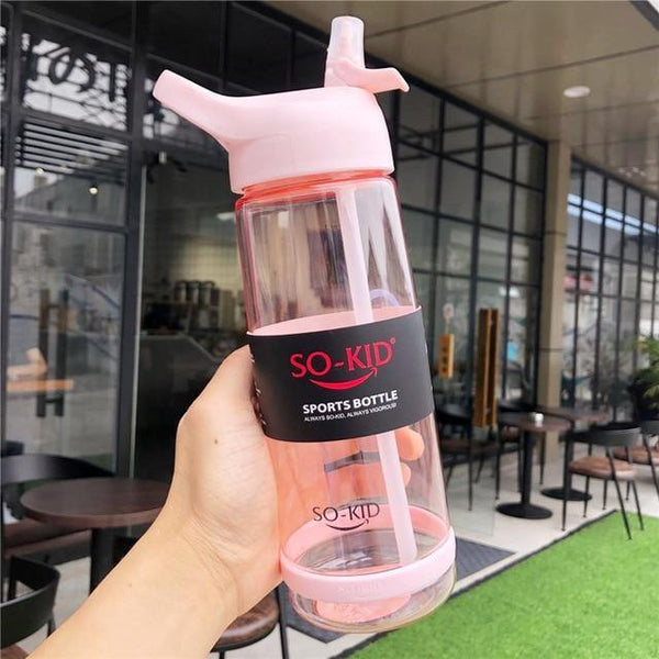 550ml/800ml/1000ml Sports Water Bottle With Straw Portable Sport Fitness Bottles Cute Kids Baby Drinkware Waterbottle - Fitness Reinforce