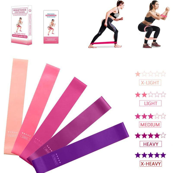 5pcs Training Fitness Gum Exercise Gym Strength Resistance Bands Pilates Sport Rubber Fitness Bands Crossfit Workout Equipment - Fitness Reinforce