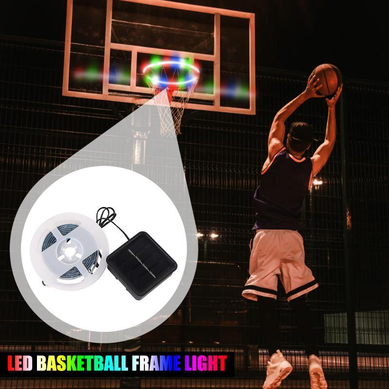1 PCS LED Basket Hoop Solar Basketball Rim Playing At Night Shooting Accessories Attachment for Kids Adult Ball Sport - Fitness Reinforce