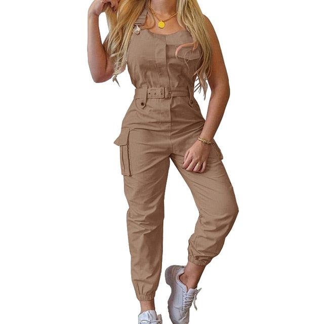 WEPBEL Women Casual Cargo Playsuit Sleeveless O Neck Jumpsuit With Pocket and Belt Elegant Pencil Pants Overalls
