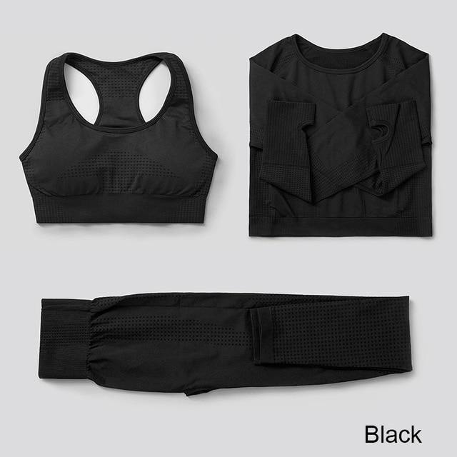 2Pcs/3Pcs Women's tracksuit Seamless Yoga Set Gym Fitness Clothing Sportswear Female Workout Leggings Top Bra Sport Clothes - Fitness Reinforce