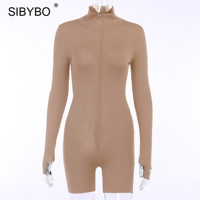 Sibybo Ribbed Turtleneck Sport Wear Casual Jumpsuit Women Letter Embroidery Skinny Sexy Playsuit Female Fitness Rompers Overalls