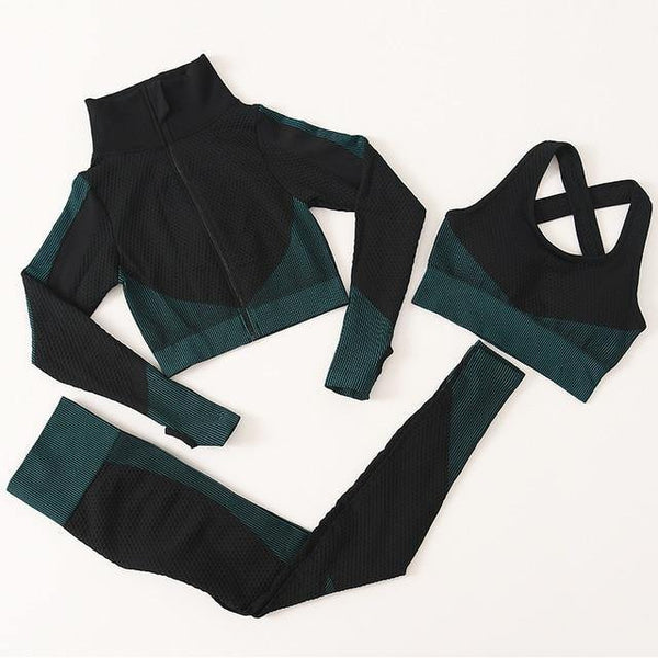 2 PC Long Sleeve Gym Cropped Top Seamless Leggings Yoga Set Workout Clothes Women Sport Suit Fitness Set Sports Bra Sportswear - Fitness Reinforce