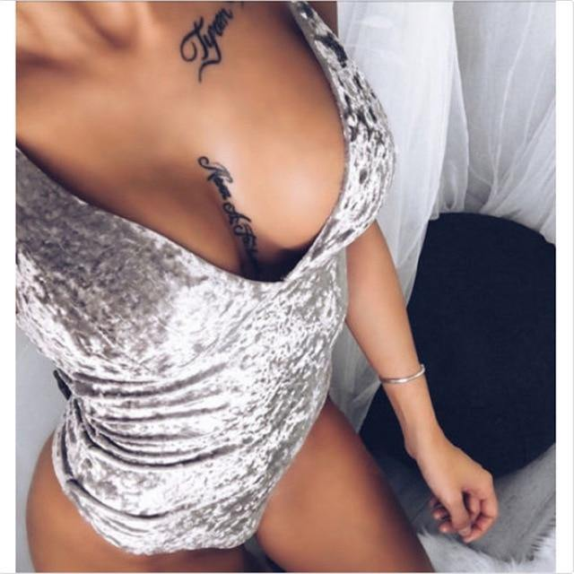 Sexy Velvet Jumpsuit Women Bodysuit V Neck Sleeveless Bodycon Skinny Leotard Tops Female Jumpsuits - Fitness Reinforce