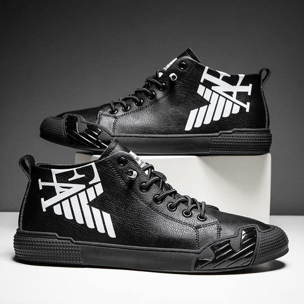 Superstar Fashion Letter Black Printed High top Sneakers Men Skateboard Shoes Seasons Comfortable Sport Shoes Men zapatos hombre - Fitness Reinforce