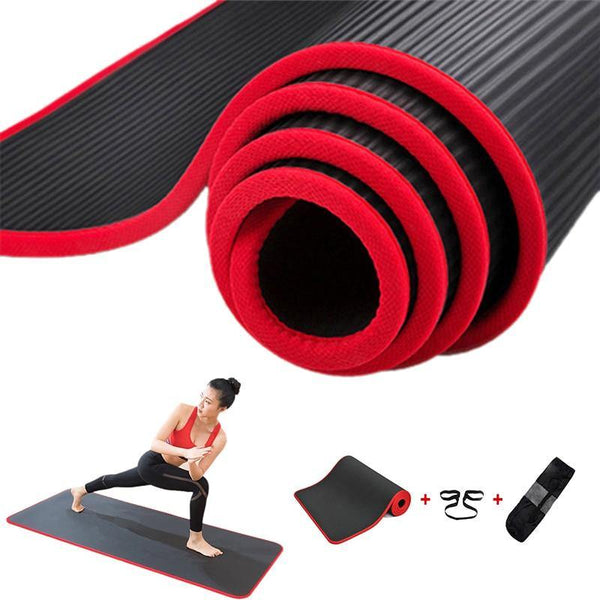 Jusenda 10MM Yoga Mat 183x61cm NBR Fitness Gym Sports Pilates Pads Carpet Edge-covered Tear Resistant Yoga Matt with Bag&Strap - Fitness Reinforce