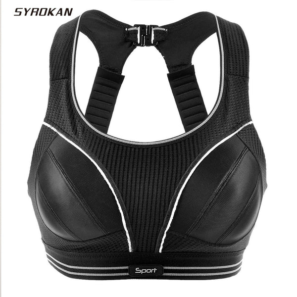 SYROKAN Clearance Sale Women's Compression Racerback Adjustable High Impact Running Sports Bra (size smaller than normal) - Fitness Reinforce