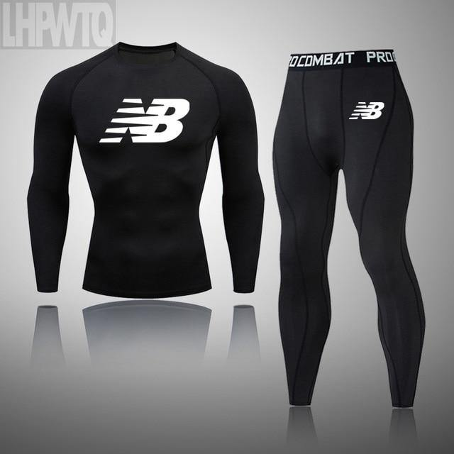 Men's Thermal Underwear Underpants Kit Sports Compression Clothing Tracksuit For Men Fitness Slim Joggers Base Layer Set Long - Fitness Reinforce
