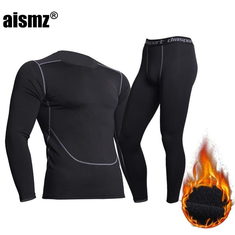 Aismz Winter Thermal Underwear Men Warm Fitness Fleece Legging Tight Undershirts Compression Quick Drying Male Thermo Long Johns - Fitness Reinforce