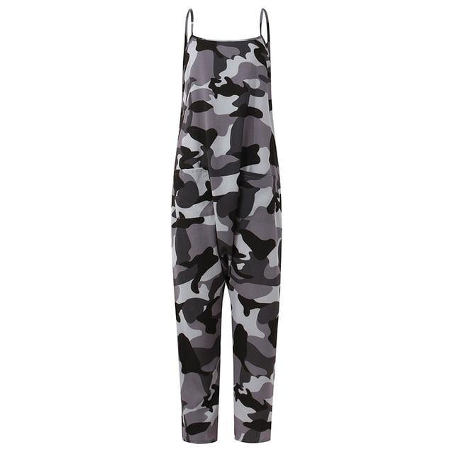 Women Jumpsuits 5XL Long Rompers Celmia 2021 Summer Sleeveless Casual Loose Camouflage Printed Drop-Crotch Playsuits Harem Pants - Fitness Reinforce