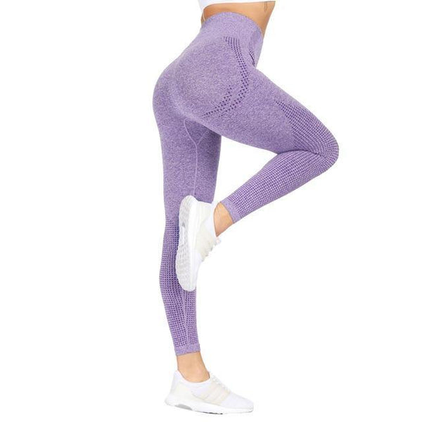 Women Splice Running Yoga Pants High Waist Mesh Seamless Leggings Training Fitness Gym Leggings Elastic Sportswear Sport Pants - Fitness Reinforce
