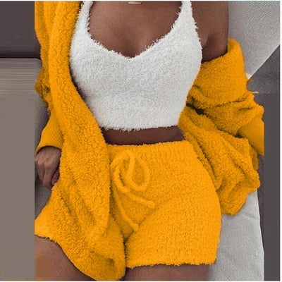 Sexy Fluffy Sets Three Piece Velvet Plush Hooded Cardigan Coat+Shorts+Crop Top Women Tracksuit Casual Sports Overalls Sweatshirt