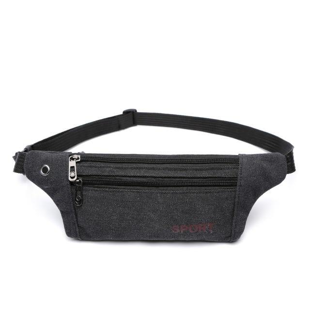 Canvas Waist Bag Waterproof Running Bag Outdoor Sports Belt Bag Bicycle Riding Mobile Phone Waist Pack Fitness Gym Belt Bag - Fitness Reinforce