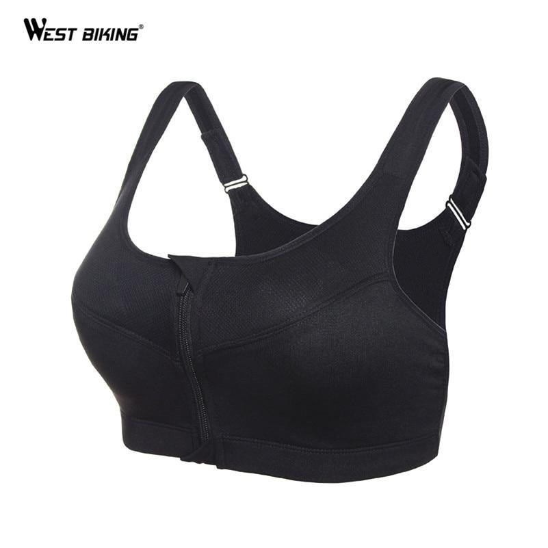 WEST BIKING Women Running Yoga Gym Fitness Front Zipper Bra Shakeproof Push Up Tank Top Racerback Padded Bicycle Bike Sports Bra - Fitness Reinforce