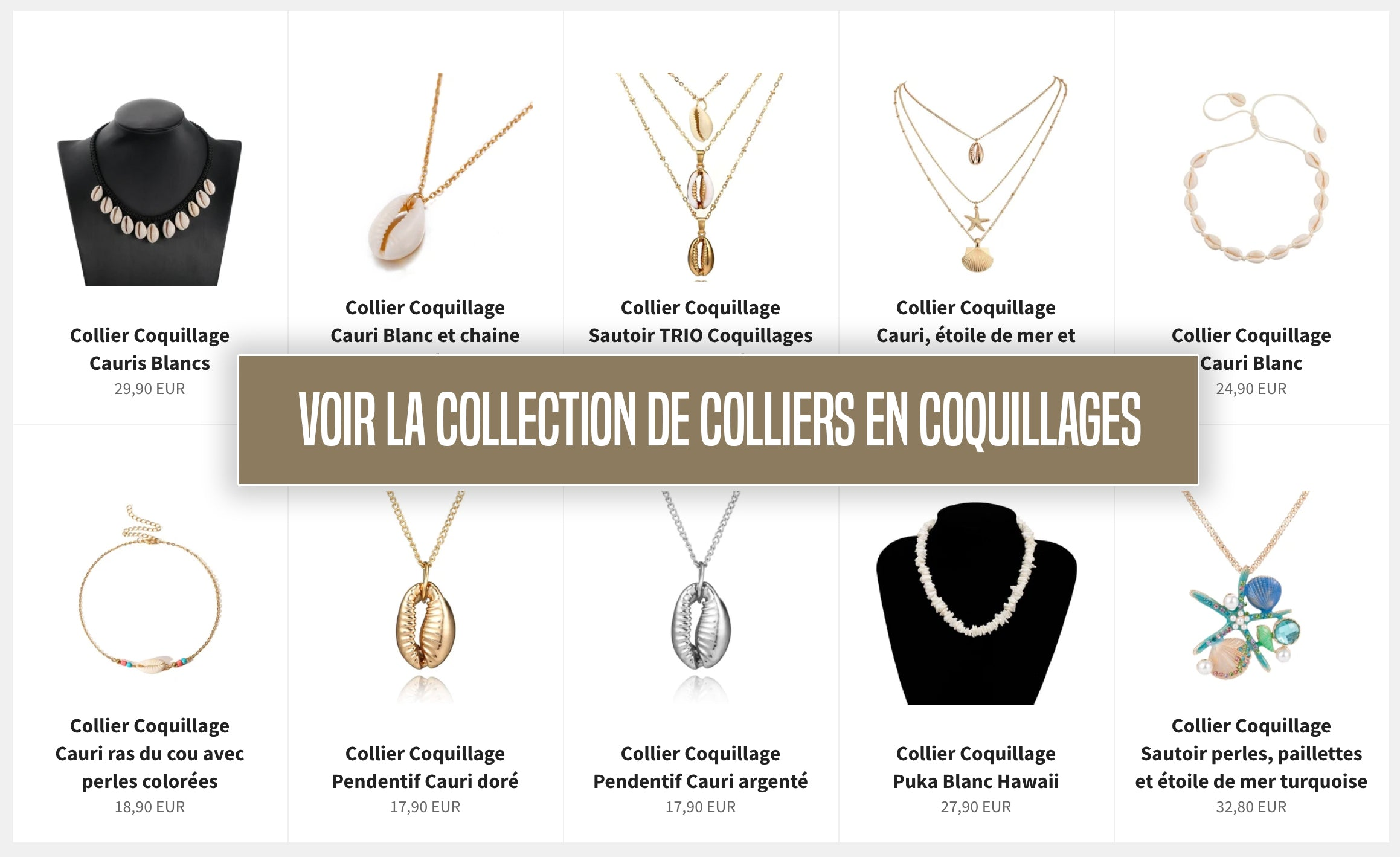 Collection colliers en Coquillages