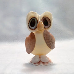 statuette hibou coquillages