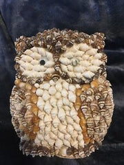 figurine hibou en coquillages