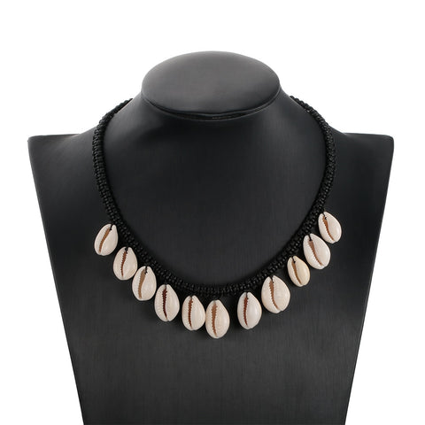 Collier Coquillage Cauris Blancs