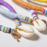 Bracelet Cheville Coquillage <br/> Surfeur Perles Blanches