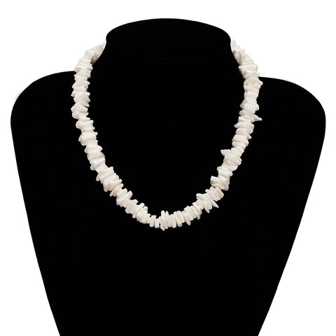 Collier Coquillage Puka Blanc