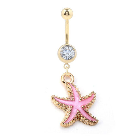 Piercing Nombril Coquillage Etoile de mer Rose