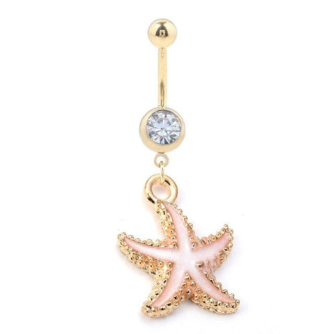 Piercing Nombril Coquillage Etoile de mer Saumon