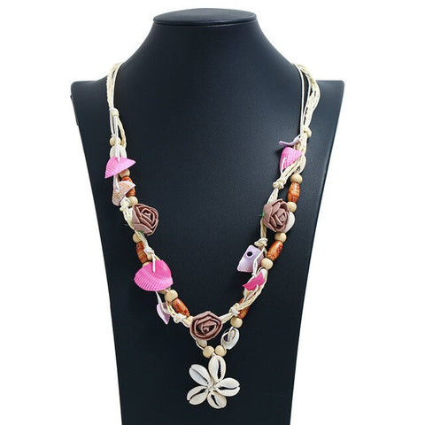 Collier Coquillage <br/> Sautoir Cauris Rose