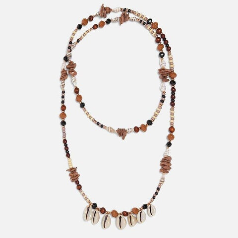 Collier Coquillage <br/> Cauris et Perles Brunes