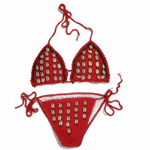 Maillot de bain Coquillage Cauris Rouge
