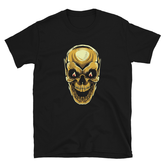 Unisex T-Shirt Golden Evil Skull - Positive Impact Shop
