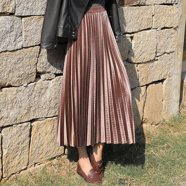 Gold velvet long skirt women fashion