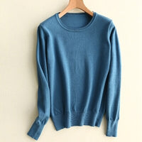 Pullover New Solid O-neck Long-sleeved Soft