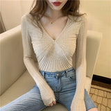 Girls V-neck Pleated Knitted Full