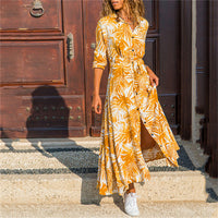Sexy Long Sleeve Floral Print Sashes Dress