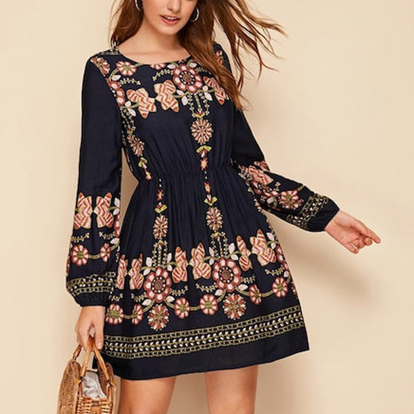 Womne Boho Dress Embroidery casual Long3s